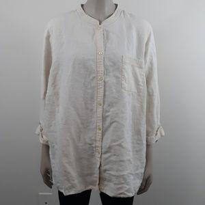 Alexandra Bartlett Woman 3X Linen Button Top